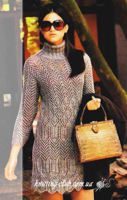 Платье меланжевое спицами, ажурное платье спицами, меланжевое ажурное платье, вязание спицами, вязание на заказ, модели вязаной одежды для женщин спицами, вязаные модели спицами, в'язання спицями, узоры спицами, зигзаги спицами