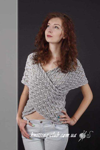 Пуловер серый с имитацией запаха, пуловер ажурныйспицами, пуловер ажурный серый,вязание спицами, вязание на заказ, модели вязаной одежды для женщин спицами, вязаные модели спицами, в'язання спицями, узоры спицами