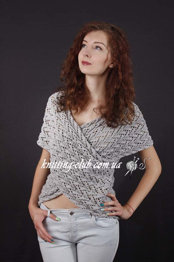 Серый пуловер с запахом, вязание на заказ