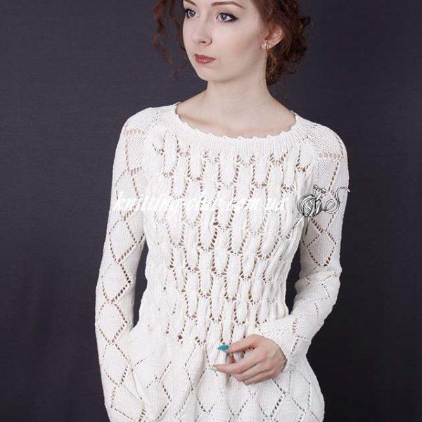 Джемпер белый с баской, Купить джемпер из Vogue Knitting Holiday ручной работы, купить джемпер ручной вязки ажурный белый, джемпер белый со сборочками из Vogue knitting Holiday, джемпер из Vogue, Vogue knitting, Vogue knitting Holiday, вязание изVogue knitting Holiday, вязание спицами, в'язання спицями, как связать джемпер с баской, модели женской вязаной одежды, ручная работа, hand made, вяжем вместе