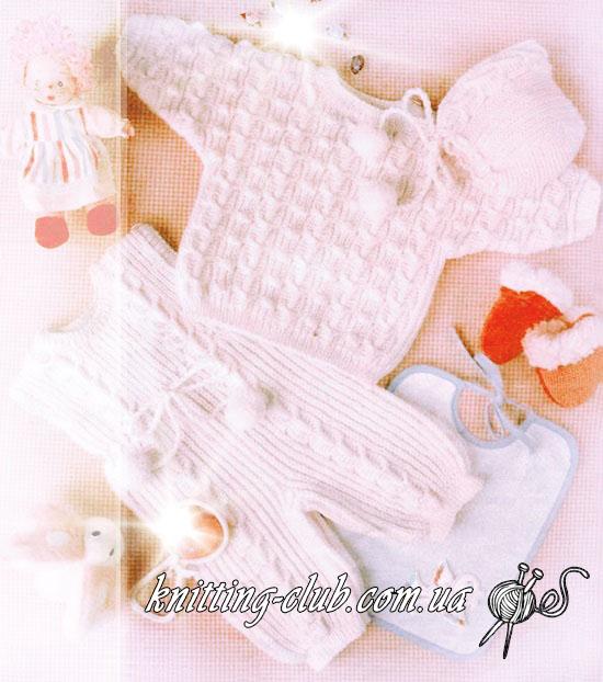 Белый детский комбинезон, вязаный детский комбинезон, детский комплект, пуловер белый, шапочка белая, вязание детям, для самых маленьких, вязание на заказ, как связать детский комбинезон, как связать детский пуловер