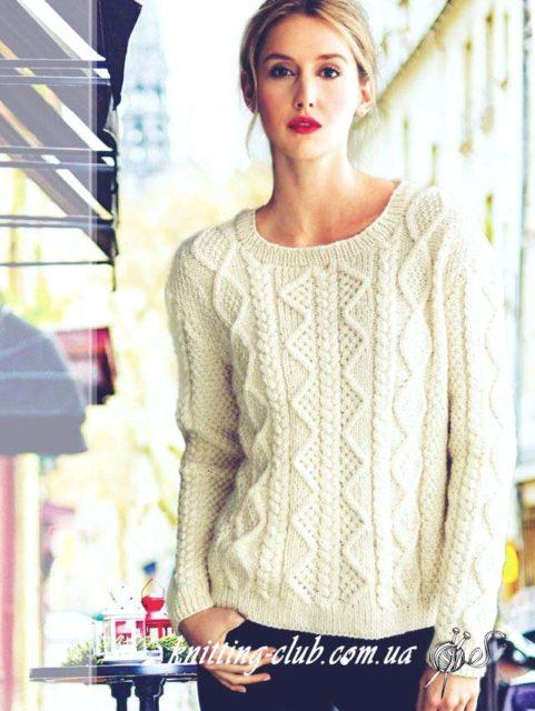 Белый пуловер с аранами, белый пуловер, пуловер, пуловер вязаный женский, как связать пуловер с аранами, модели вязаной одежды для женщин, вязание на заказ, описания и схемы вязаной одежды, белый
