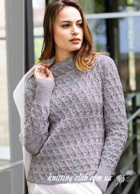 Джемпер с воротником стойка, джемпер с вытянутыми скрещенными петлями, джемпер женский, джемпер женский серый, серый, как связать свитер на зиму, вязание на заказ, модели вязаной одежды для женщин