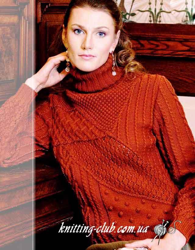 Свитер, как связать свитер, свитер с шишечками и косами, вязание на заказ. коричневый