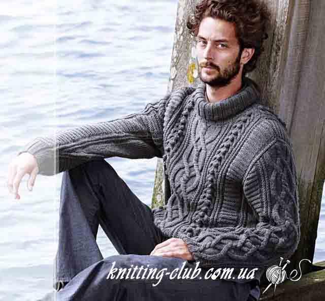 Свитер с аранами, вязаный мужской свитер с аранами, серый вязаный свитер с косами, модели вязаной одежды для мужчин, вязание на заказ, описание и схемы вязаной одежды, серый, свитер