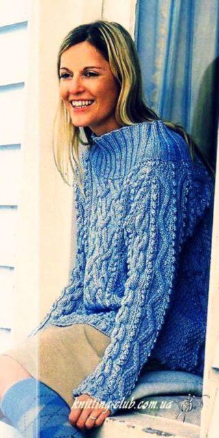 Свитер голубой Debbie Bliss, свитер, голубой, как связать свитер, пуловер, голубой пуловер, голубой пуловер Debbie Bliss, модели вязаной одежды для женщин, вязание на заказ