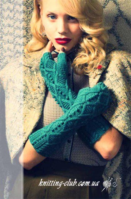 Митенки _Vogue Knitting, митенки, митенки бирюзовые, митенки с ромбами, митенки с ромбами и шишечками, как связать митенки, вязание на заказ, бирюзовый