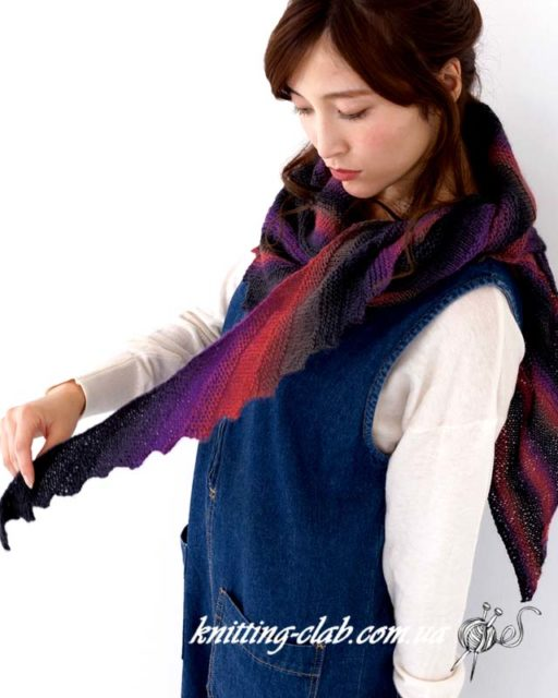 Бактус, Шарф, бактус из пряжи секционного крашения, вязание спицами, вязание на заказ, шарфы и снуды, модели из азиатских журналов с подробными схемами,многоцветный