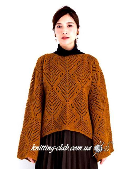 Как связать ажурный джемпер спицами, горчичный ажурный джемпер, подробные схемы из азиатских журналов, Ажурный джемпер, вязание спицами, вязание на заказ, как связатьажурный джемпер ромбами, модели вязаной одежды для женщин, горчичный, желтый, азиатские модели со схемами, джемпер, джемпер ажурныйспицами