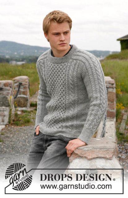 """Джемпер с косами """"Араны мечты"""", джемпер мужской, вязаный мужской джемпер, вязание спицами, вязаный джемпер чистошерстяной, вязание для мужчин, модели вязаной одежды для мужчин, свитер, пуловер, вязание на заказ, араны, серый, как связать мужской свитер или пуловер"""