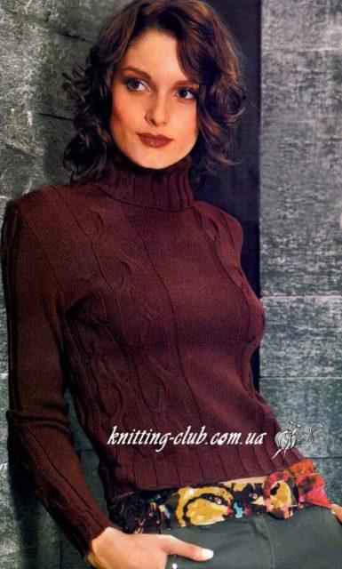 Вязаный женский джемпер с косами и воротником поло, вязание спицами, джемпер женский, вязаный джемпер с косами, вязание на заказ, схемы и описания вязаных изделий, модели вязаной одежды для женщин, коричневый, бордовый, свитер с косами