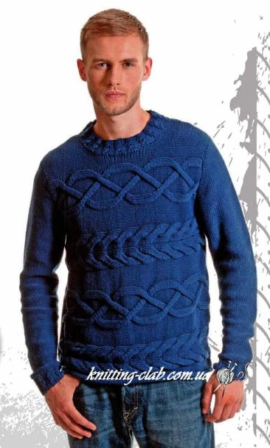 Джемпер с поперечными аранами,джемпер мужской,джемпермужской с аранами, голубой, аранскиекосы, вязание спицами, вязание на заказ, модели вязаной одежды для мужчин,джемпермужской с косами, синий, араны, как связать мужской джемпер