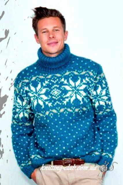Свитер с норвежским узором,свитер с норвежским узором голубой,свитер мужской,свитер мужской с норвежским узором, голубой, норвежские узоры, вязание спицами, вязание на заказ, модели вязаной одежды для мужчин