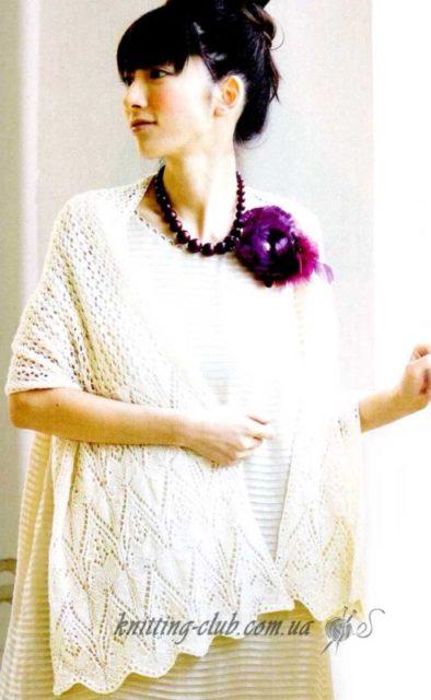 Ажурный белый палантин,вязание спицами, вязание на заказ, как связать палантин, модели вязаной одежды для женщин, белый, азиатские модели со схемами, шали и палантины