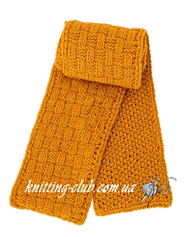 Шарф, шарф путанкой, шарф шахматкой, шарф путанкой и шахматкой, вязание спицами, вязание на заказ, шарфы и снуды, модели из азиатских журналов с подробными схемами, желтый