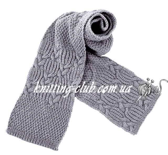 Шарф, шарф путанкой, шарф шахматкой, шарф путанкой и шахматкой, вязание спицами, вязание на заказ, шарфы и снуды, модели из азиатских журналов с подробными схемами,серый
