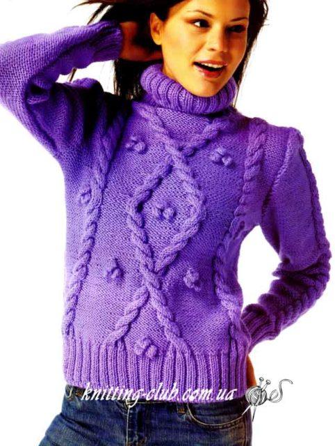 Пуловер фиолетовый с косой и «шишечками», пуловер с косой, фиолетовый, вязание на заказ, модели вязаной одежды для женщин, пуловер из толстой пряжи, описания и схемы вязаной одежды, пуловеры и свитеры, вязаный пуловер, вязаный свитер, как связать пуловер с косами, как связать пуловер с косами из толстой пряжи