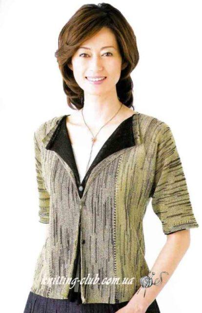 Жакет меланжевый с поперечным направлением вязания,Жакет меланжевый, вязание спицами, вязание на заказ, как связать жакет, модели вязаной одежды для женщин, модели со схемами из азиатских журналов