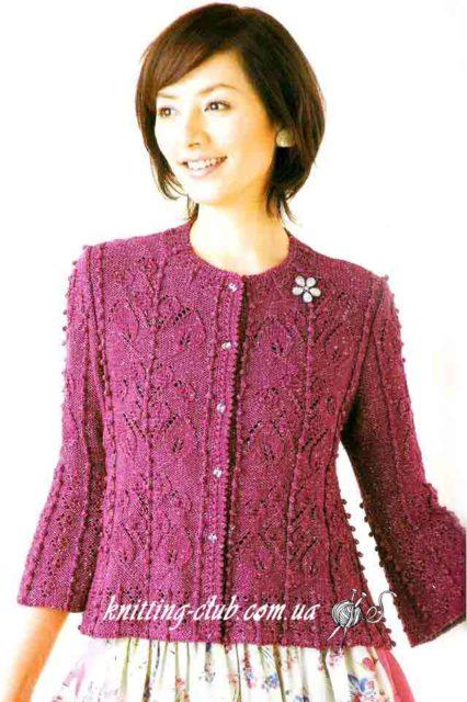 Жакет с листьями, вязание спицами, вязание на заказ, как связать жакет, модели вязаной одежды для женщин, вишневый, бордо, азиатские модели со схемами