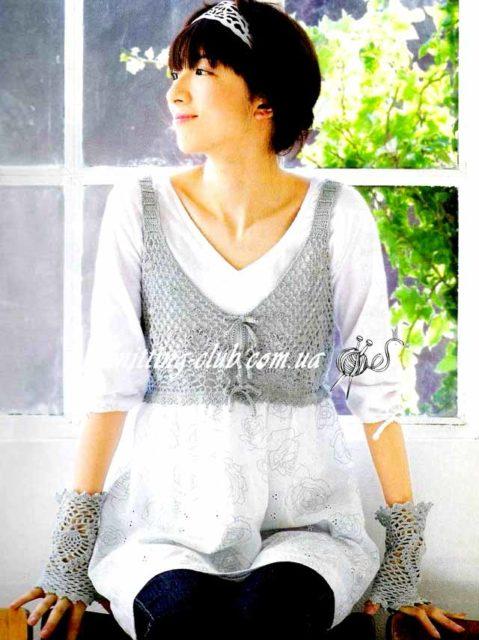 """Жилет и митенки узором """"Ананасы"""", вязание крючком, вязание на заказ, как связать жакет, модели вязаной одежды для женщин, серый, азиатские модели со схемами, жилет, митенки"""