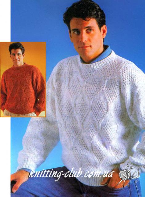 Мужской джемпер с рельефным узором, джемпер мужской, джемпер с рельефным узором, рельефные узоры, вязание для мужчин, модели вязаной одежды для мужчин, описание вязания мужского джемпера, как связать мужской джемпер, белый, белый мужской джемпер