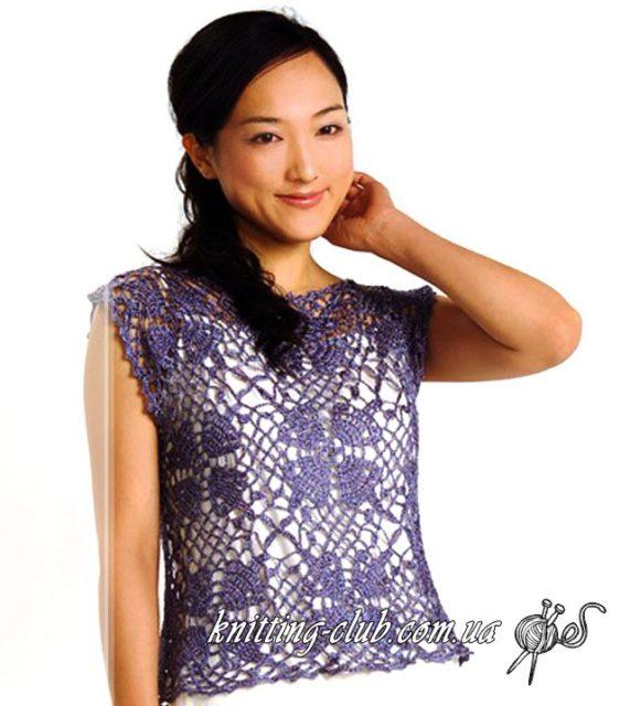 Как связать ажурную безрукавку из мотивов, подробные схемы из азиатских журналов, Ажурная безрукавка из мотивов, вязание крючком, вязание на заказ, как связатьажурную безрукавку крючком из квадратных мотивов, модели вязаной одежды для женщин, бежевый, серый, азиатские модели со схемами, топ, квадратные мотивы крючком, безрукавка