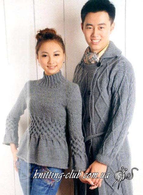 Джемпер серый, джемпер с узором «плетенка», джемпер с плетеным узором, модели вязаной одежды для женщин, ручная работа, как связать джемпер с плетеным узором, плетеный узор, вязание для женщин, описание вязания джемпера с плетеным узором, серый, модели из азиатских журналов, вязание на заказ