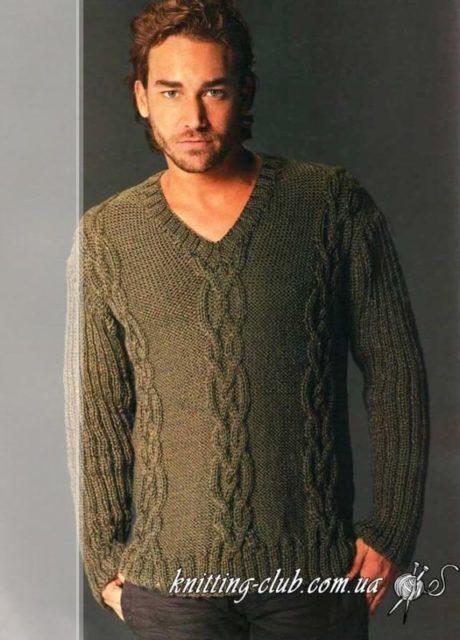 Пуловер мужской с аранами, пуловер мужской оливковый, модели вязаной одежды для мужчин, вязание спицами, схемы вязания свитеров, как вязать пуловер или вситер, в'язання спицями, вязание на заказ, ручная работа