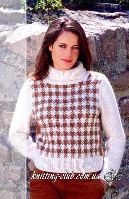 Свитер с узором «Клетка», белый, коричневый, свитер женский, свитер белый, свитер с жаккардовым узором, узор «клетка», вязание спицами, как связать свитер с жаккардовым узором, модели вязаной одежды для женщин, вязание на заказ, ручная работа, свитер ручной работы