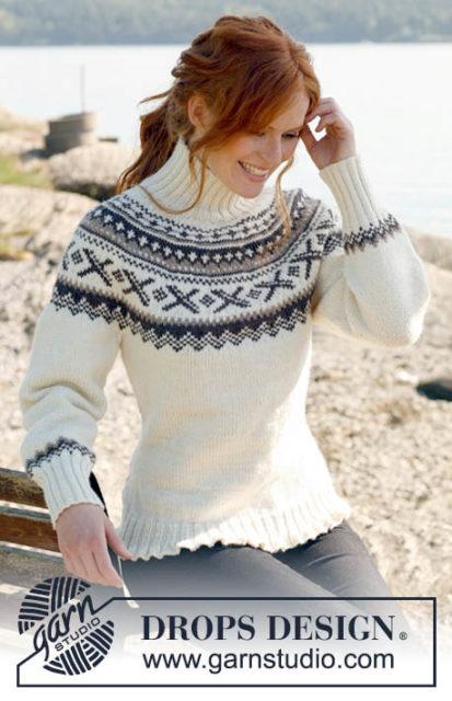 Свитер с узорной круговой кокеткой, лопапейса, свитер лопапейса, свитер с круглой кокеткой, свитер с норвежским узором, свитер с жаккардовым узором, белый, коричневый, бежевый, модели вязаной одежды для женщин, вязание спицами, в'язання спицями, вязание на заказ, ручная работа