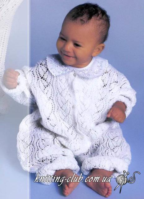 детский комбинезон, ажурный детский комбинезон, белый ажурный детский комбинезон, вязание детям, для самых маленьких, вязание на заказ, как связать детский комбинезон