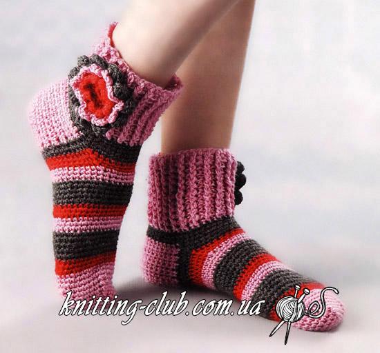 носки, вязаные носки, как вязать носки крючком, вязание носков крючком, носки крючком, носки в полоску, описание вязания носков, описание вязания носков крючком