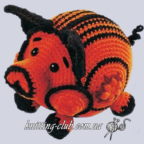 Свинка, Год Свиньи, вязаная свинка, как связать свинку крючком, Символ года свиньи