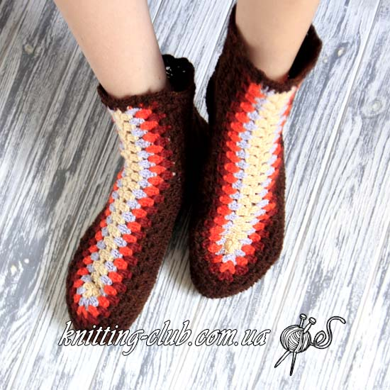 Носки, носки крючком, носки крючком от центра, вязаные носки, как связать носки крючком