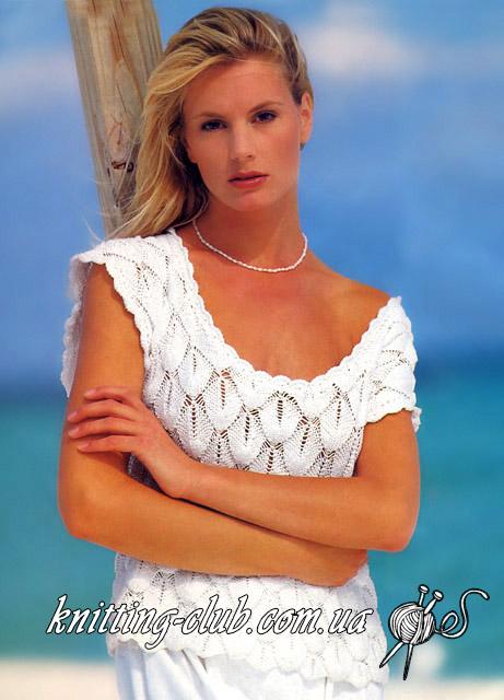 Вязание спицами, летний топ, белый топ, белый вязаный топ, ажурный топ, белый ажурный топ, узор «ракушки», белый топ узором «ракушки», вязание для женщин, простой топ для лета, Пляжная мода