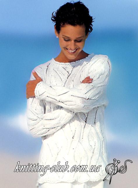 Женский пуловер, Белый женский пуловер, Белый пуловер с узором из кос и ромбов, свитер белый, свитер белый косами, вязание для женщин, вязание спицами, вязаные модели для лета и моря