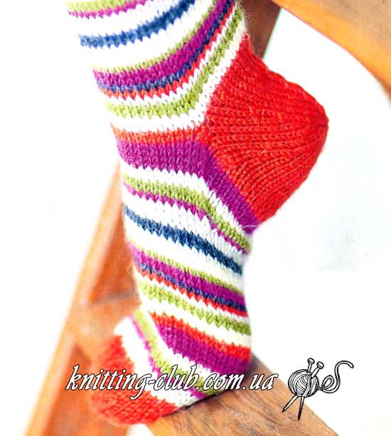 Носки, носки с круглой пяткой, носки спицами, вязание спицами, как связать носки с круглой пяткой.