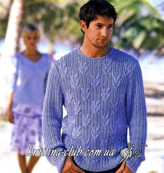 Пуловер мужской, пуловер мужской серо – голубой, пуловер мужской с косами, модели вязаной одежды для мужчин, вязание спицами, схемы вязания свитеров, как вязать пуловер или свитер, в'язання спицями, вязание на заказ, ручная работа, вязание для мужчин, Мужской свитер, Мужской пуловер, как связать мужской пуловер, пуловер с косами, Пуловер резинкой с косами