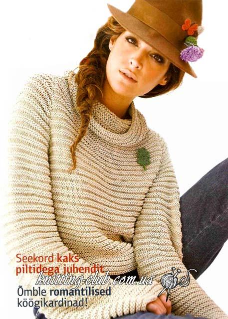 жемпер женский, джемпер полосатым узором, вязание для женщин, джемпер, вязание спицами, модели вязаной одежды для женщин, джемпер бежевый, джемпер натурального цвета