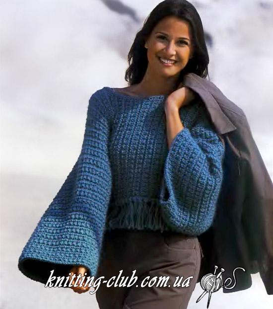 Пуловер с бахромой, Женский пуловер с бахромой в технике поперечного вязания, Короткий пуловер с бахромой, Пуловер, Пуловер женский, Вязание спицами, Вязание для женщин, Поперечное вязание, модели из Сабрины, Сабрина вязание, Сабрина 2002 09,