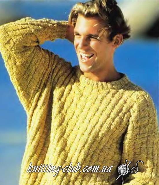 Пуловер мужской, пуловер из желтой меланжевой пряжи, Sandra1997\06, мужской пуловер Sandra1997\06, модели Sandra1997\06, мужской пуловер с плетеным узором, вязание спицами, вязание для мужчин