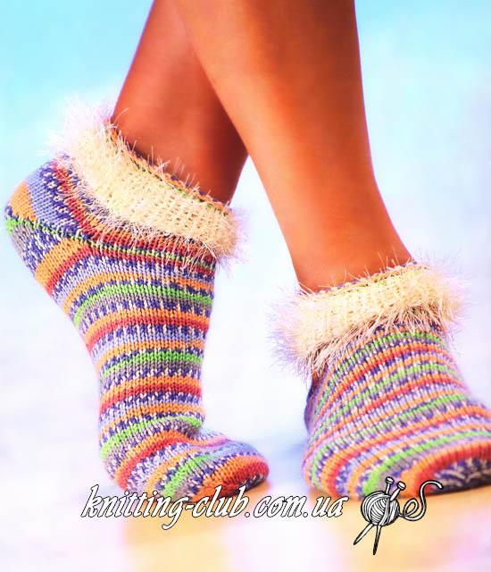 Короткие носки, короткие полосатые носки из носочной пряжи, носки из пряжи секционного крашения, вязаные носки