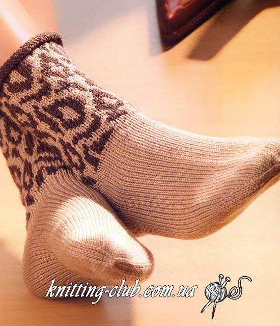 Носки с леопардовым узором, Зооноски с леопардовым принтом, Носки с леопардовым принтом, вязаные носки, носки с пяткой «бумеранг», вязание спицами, как связать носки с пяткой «бумеранг», Носки с пяткой «бумеранг» и леопардовым принтом