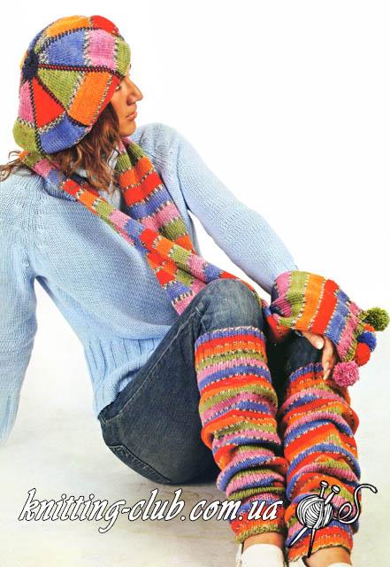 Берет и шарф, гетры, вязаный берет и шарф, вязаные гетры для танцев и тренировок, вязаные гетры в комплекте с беретом и шарфом, вязание спицами, Вязаный берет и шарф в комплекте с гетрами, вязаный берет, вязаный шарф, вязаные гетры, как связать красивый берет, берет и шарф из секционной пряжи, берет и шарф из носочной пряжи, что можно связать из носочной пряжи