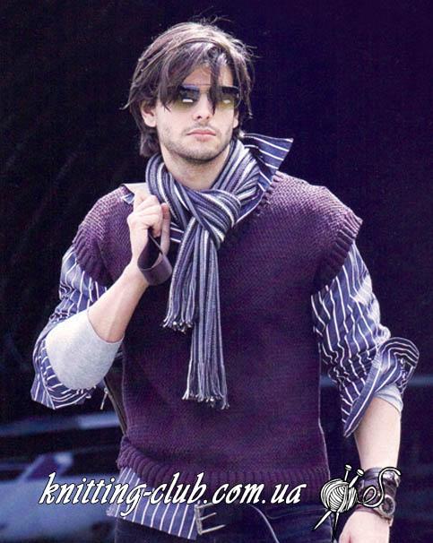 Вязаный мужской жилет, вязаный мужской жилет плетеным узором, вязание спицами, вязание для мужчин, вязаный жилет мужской, плетеный узор, вяжем плетеным узором,